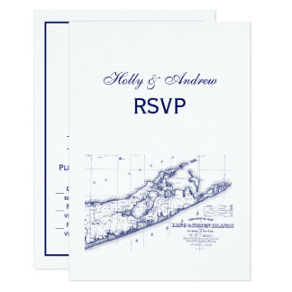 Long Island The Hamptons Map VC RSVP Card