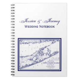 Long Island The Hamptons Map VC Spiral Notebook