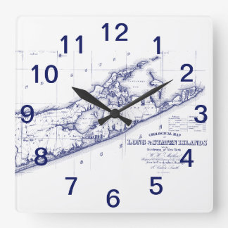 Long Island The Hamptons Map VC Square Wall Clock