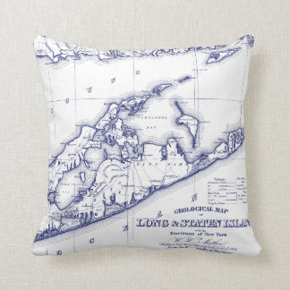 Long Island The Hamptons Map VC Throw Pillow