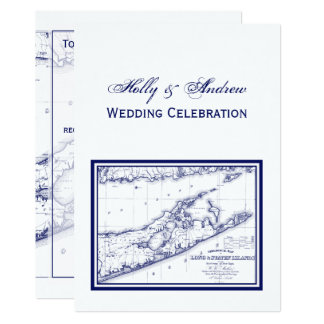 Long Island The Hamptons Map VC Wedding Card