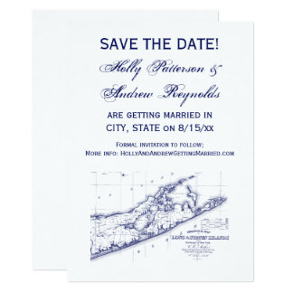 Long Island The Hamptons Map VC Wedding Card