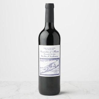 Long Island The Hamptons Map Wine Label