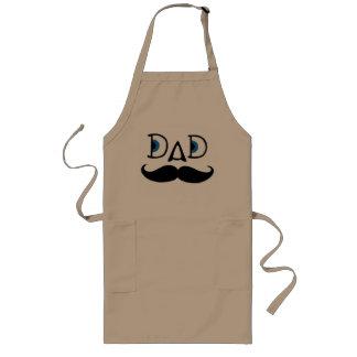 Long Khaki Apron: Hipster Dad Mustache Long Apron