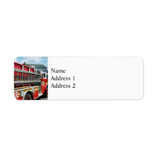 Long Ladder on Fire Truck Return Address Label
