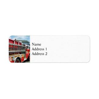 Long Ladder on Fire Truck Return Address Label