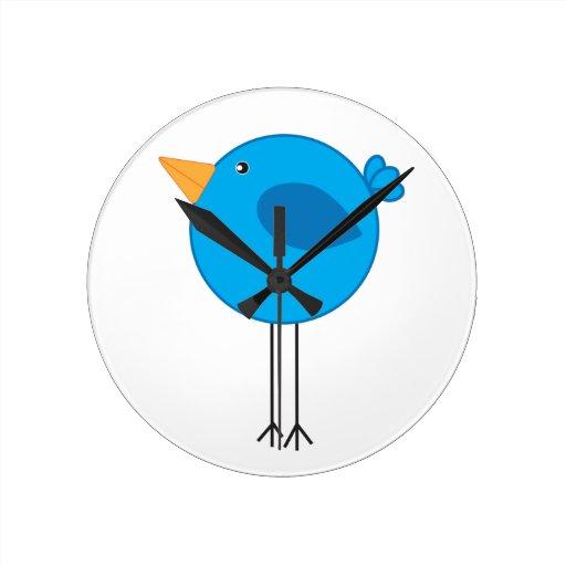 Long Legged Blue Bird Cartoon Clock