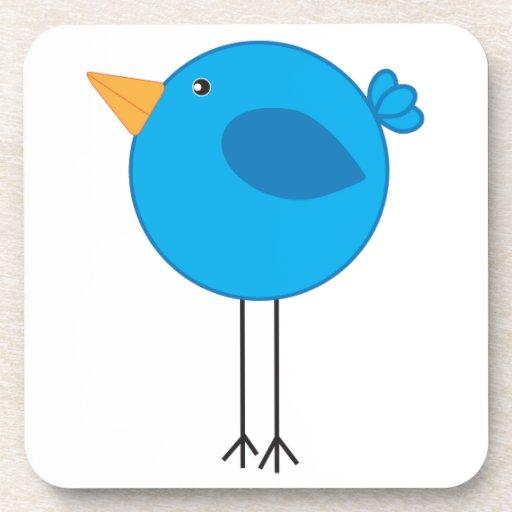 Long Legged Blue Bird Cartoon Drink Coasters