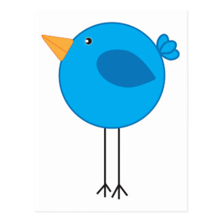 Long Legged Blue Bird Cartoon Postcard
