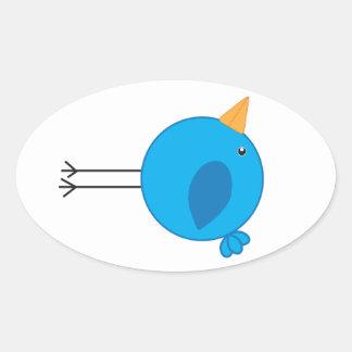 Long Legged Blue Bird Cartoon Oval Sticker