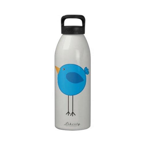 Long Legged Blue Bird Cartoon Drinking Bottles