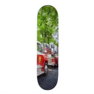 Long Line of Fire Trucks Custom Skate Board