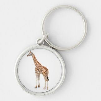 Long Neck Giraffe Silver-Colored Round Keychain