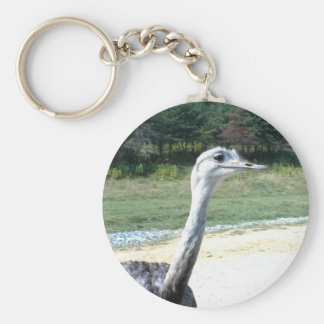 Long Neck Ostrich Profile Basic Round Button Keychain
