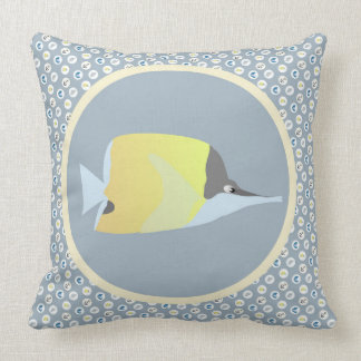 Long Nose Butterfly Fish with Nautical Icons Throw Pillow