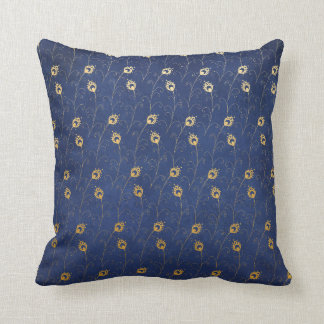 Long Peacock Feathers Gold & Navy Blue Throw Pillow