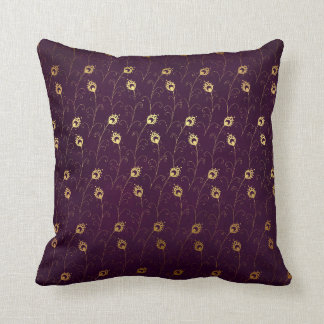 Long Peacock Feathers Gold & Royal Purple Throw Pillow