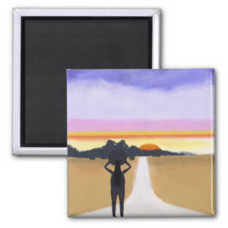 Long Road Ahead Square Magnet