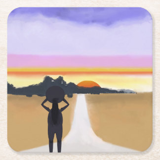 Long Road Ahead Square Paper Coaster