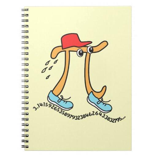Long Running Pi - Funny Pi Guy Spiral Notebooks