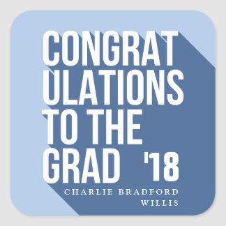 LONG SHADOW CONGRATS TO THE GRAD NAVY SQUARE STICKER