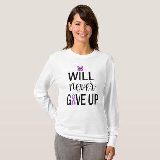 Long Sleeve Never Give Up Fibromyalgia T Shirt