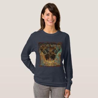 Long sleeved Black Butterfly Women's T-shirt