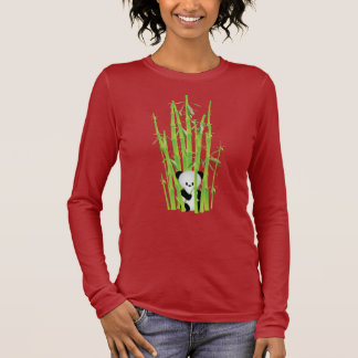 Long-sleeved shirt - Panda Hiding in Bamboo