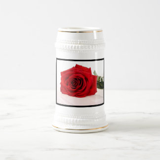 Long Stem Red Rose Beer Stein 18 Oz Beer Stein