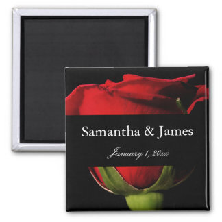 Long Stem Red Rose Personal Wedding Magnet