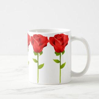 Long Stemmed Red Roses Basic White Mug