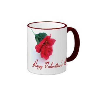 Long Stemmed Rose Happy Valentine's Day Ringer Coffee Mug