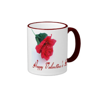 Long Stemmed Rose Happy Valentine's Day Ringer Mug