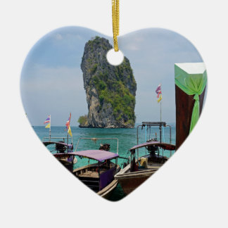 long tail boat in thailand ceramic heart ornament