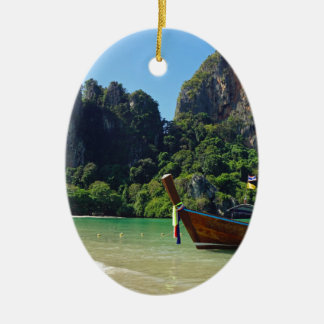 long tail boat in thailand ceramic oval ornament