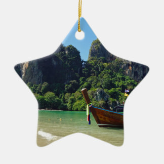 long tail boat in thailand ceramic star ornament