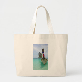 long tail boat in thailand large tote bag