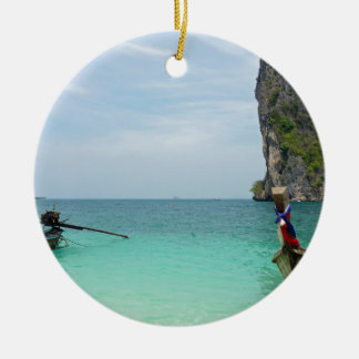 long tail boat in thailand round ceramic ornament