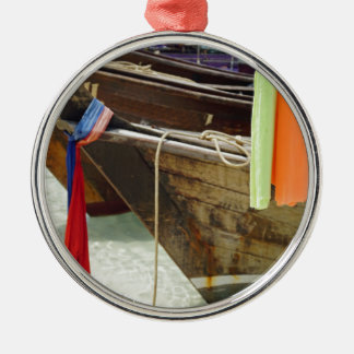 long tail boat in thailand Silver-Colored round ornament