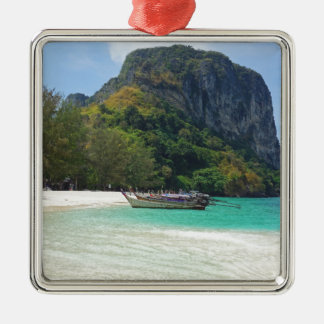long tail boat in thailand Silver-Colored square ornament