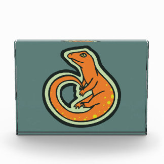 Long Tail Orange Lizard With Spots Drawing Design