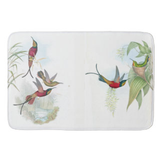 Long Tailed Hummingbirds Birds Flowers Bath Mat
