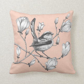 long tailed tit on magnolia pink throw pillow