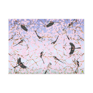 Long-tailed Tits in spring Canvas Print