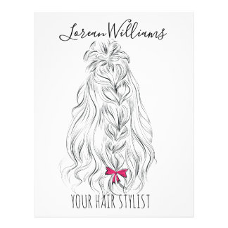 Long wavy hair with a bow  Hairstyling branding Flyer