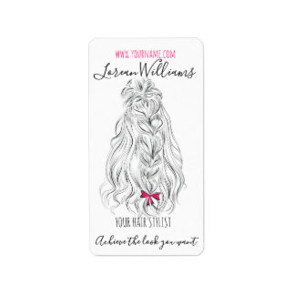 Long wavy hair with a bow  Hairstyling branding Label