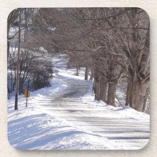 Long winters road beverage coaster