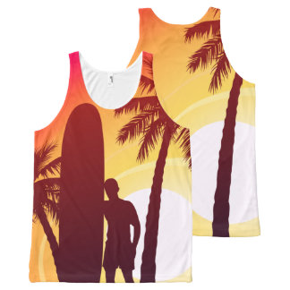 Longboard and palms All-Over-Print tank top