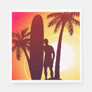 Longboard and palms disposable napkin
