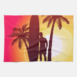 Longboard and palms kitchen towel